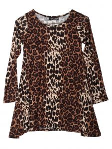 Lori Jane Big Girls Tan Black Cheetah Print Shark Bite Tunic Dress 6-16
