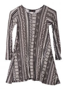 Lori Jane Big Girls Gray White Geometrical Print Tunic Dress 6-16