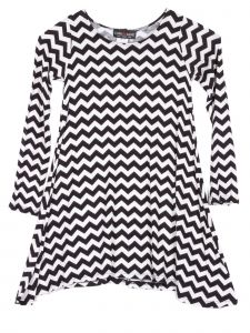 Lori Jane Big Girls White Black Chevron Shark Bite Tunic Dress 6-16