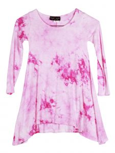 Lori Jane Big Girls White Pink Tie Dye Shark Bite Tunic Dress 6-16