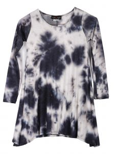 Lori Jane Big Girls Black Gray Blue Tie Dye Shark Bite Tunic Dress 6-16