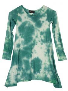Lori Jane Big Girls Multi Tie Dye Shark Bite Long Sleeve Tunic Dress 6-16