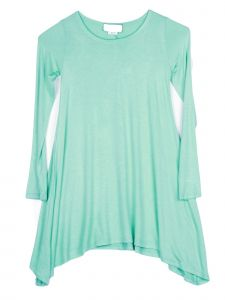 Lori Jane Big Girls Solid Mint Shark Bite Long Sleeve Tunic Dress 6-16