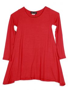 Lori Jane Big Girls Solid Red Shark Bite Long Sleeve Tunic Dress 6-16