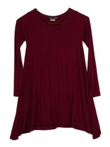 Lori Jane Big Girls Solid Burgundy Shark Bite Long Sleeve Tunic Dress 6-16