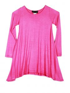 Lori Jane Big Girls Solid Hot Pink Shark Bite Long Sleeve Tunic Dress 6-16