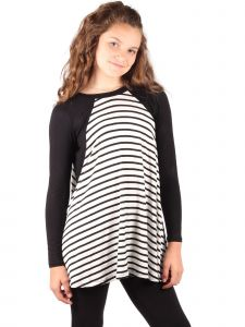 Lori Jane Big Girls Black White Stripe Long Sleeve Tunic Dress 6-16
