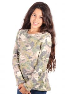 Lori Jane Big Girls Olive Camo Long Sleeve Tunic Top 6-16