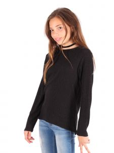 Lori Jane Big Girls Black Long Sleeve Rib Knit Sweater 6-16
