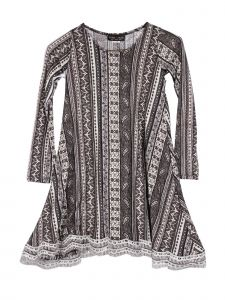 Lori Jane Big Girls Gray White Geometrical Print Lace Trim Tunic Dress 6-16