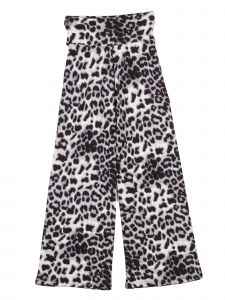 Lori Jane Big Girls Gray White Black Cheetah Print Palazzo Pants 7-14