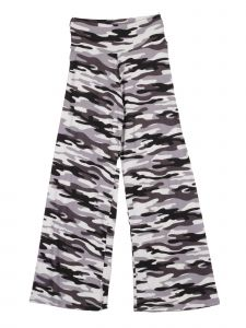 Lori Jane Big Girls Gray White Black Camo Print Palazzo Pants 7-14