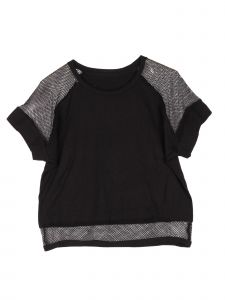 Lori Jane Big Girls Black Crew Neck Long Sleeve Mesh Top 12-18