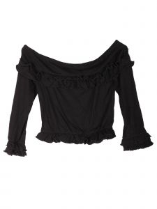 Lori Jane Big Girls Black Off Shoulder Ruffle Long Sleeve Top 12-18