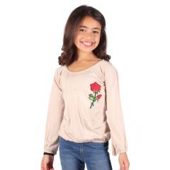 Lori&Jane Girls Cream Red Gathered Rose Applique Long Sleeve Shirt 6-14
