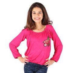 Lori&Jane Girls Fuchsia Red Gathered Rose Applique Long Sleeve Shirt 6-14