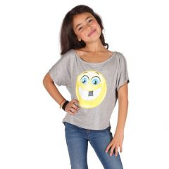 Lori&Jane Girls Gray Yellow Emoticon Detail Dolman Sleeve Trendy Top 6-14
