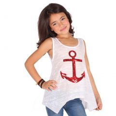 Lori&Jane Girls White Red Glitter Anchor Detail Trendy Tank Top 6-14