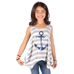 Lori&Jane Girls Grey Stripe Royal Blue Glitter Anchor Detail Tank Top 6-14