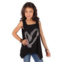 Lori&Jane Girls Black Glitter Studded Heart Detail Trendy Tank Top 6-14