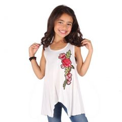Lori&Jane Girls White Red Rose Flower Detail Trendy Tank Top 6-14