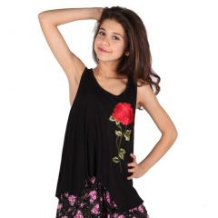 Lori&Jane Girls Black Red Eye-Catchy Flower Detail Trendy Tank Top 6-14