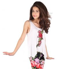 Lori&Jane Girls White Red Eye-Catchy Flower Detail Trendy Tank Top 6-14