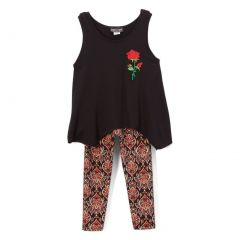 Lori&Jane Girls Black Red Rose Art Deco Print 2 Pc Legging Outfit 4-12