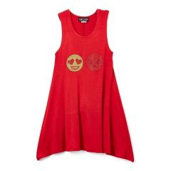 Lori&Jane Girls Red Gold Glitter Emoticon Detail Sleeveless Top 6-14