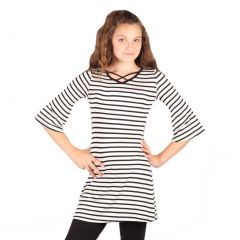 Lori&Jane Girls White Black Stripe Criss Cross Strap Flared Cuff Top 6-14