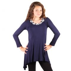 Lori&Jane Girls Navy White Flower Decorated Long Sleeve Trendy Top 6-14