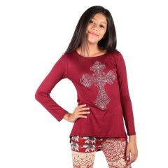 Lori&Jane Girls Burgundy Glitter Studded Heart Detail Long Sleeve Top 6-14