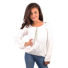 Lori&Jane Girls White Contrast Detail Gathered Long Sleeved Top 6-14