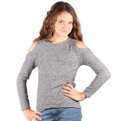 Lori&Jane Girls Gray Melange Cold Shoulder Knit Long Sleeve Trendy Top 6-14