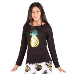 Lori&Jane Girls Black Glitter Pineapple Detail Long Sleeve Trendy Top 6-14