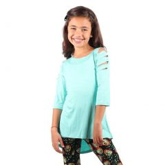 Lori&Jane Girls Mint Three Quarter Bandage Strap Sleeve Hi-Low Top 6-14