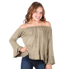 Lori&Jane Big Girls Khaki Long Sleeves Loose Fit Trendy Top 7-14