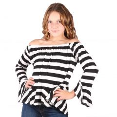 Lori&Jane Big Girls Black White Striped Long Sleeves Loose Fit Trendy Top 7-14