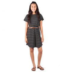 Lori & Jane Big Girls Black White Striped Short Sleeve Belt Dress 7-14