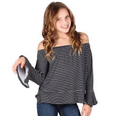 Lori&Jane Big Girls Black White Stripe Long Sleeves Off shoulder Top 7-14