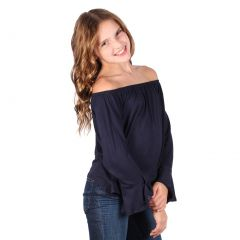 Lori&Jane Big Girls Navy Long Sleeves Off Shoulder Elastic Top 7-14