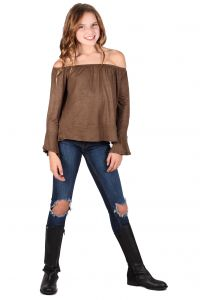 Lori&Jane Big Girls Light Brown Long Sleeves Off Shoulder Elastic Top 7-14