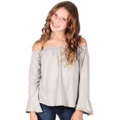 Lori&Jane Big Girls Light Gray Long Sleeves Off Shoulder Elastic Top 7-14