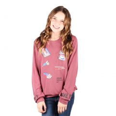 Lori&Jane Big Girls Mauve Graphic Print Long Sleeve Top 10-16