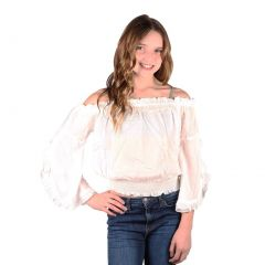 Lori&Jane Big Girls White Off Shoulder Long Sleeve Ruffle Top 10-16
