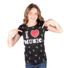 Lori&Jane Big Girls Black I Love Music Graphic Print Short Sleeve T-Shirt 8-16
