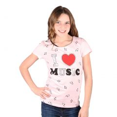 Lori&Jane Big Girls Pink I Love Music Graphic Print Short Sleeve T-Shirt 8-16