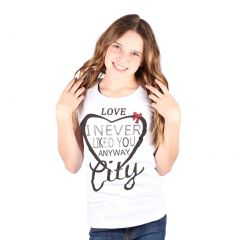 Lori&Jane Big Girls White Graphic Print Heart Short Sleeve Top 8-16
