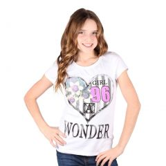 Lori&Jane Big Girls White Graphic Print Wonder Short Sleeve Top 8-16