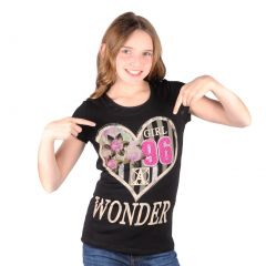 Lori&Jane Big Girls Black Graphic Print Wonder Short Sleeve Top 8-16